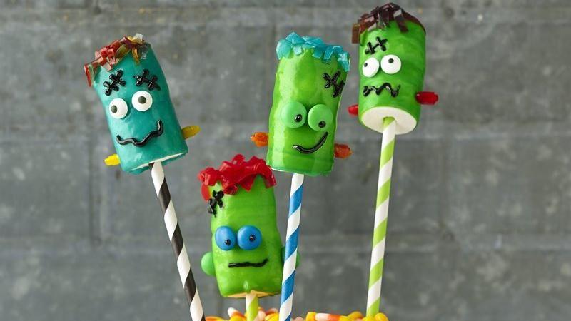 Frankenstein Fruit Roll-Up on a Stick