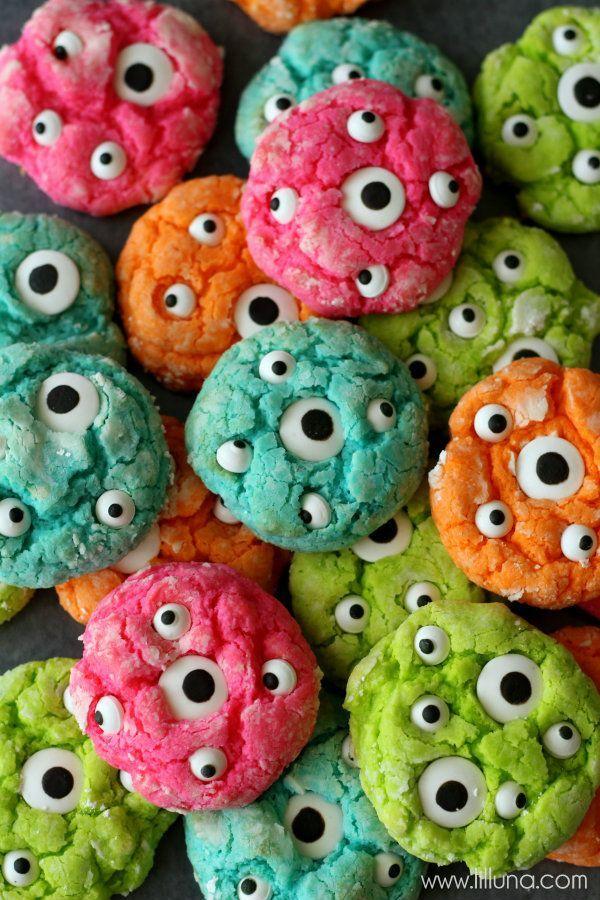 Gooey Monster Cookies and Monster Suckers Fun Halloween Party Treats